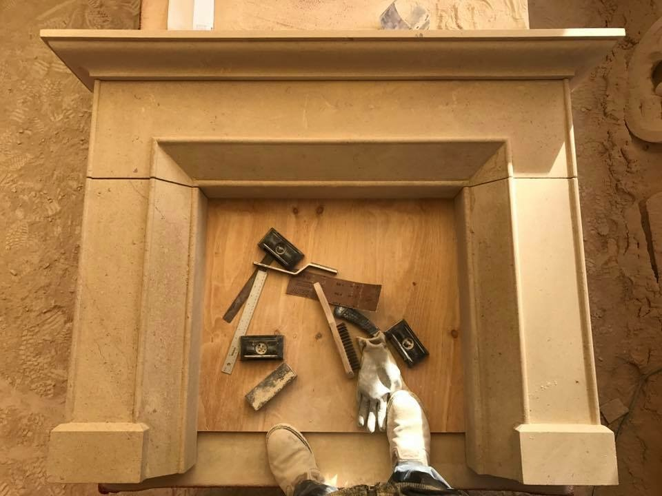 sandstone fireplace