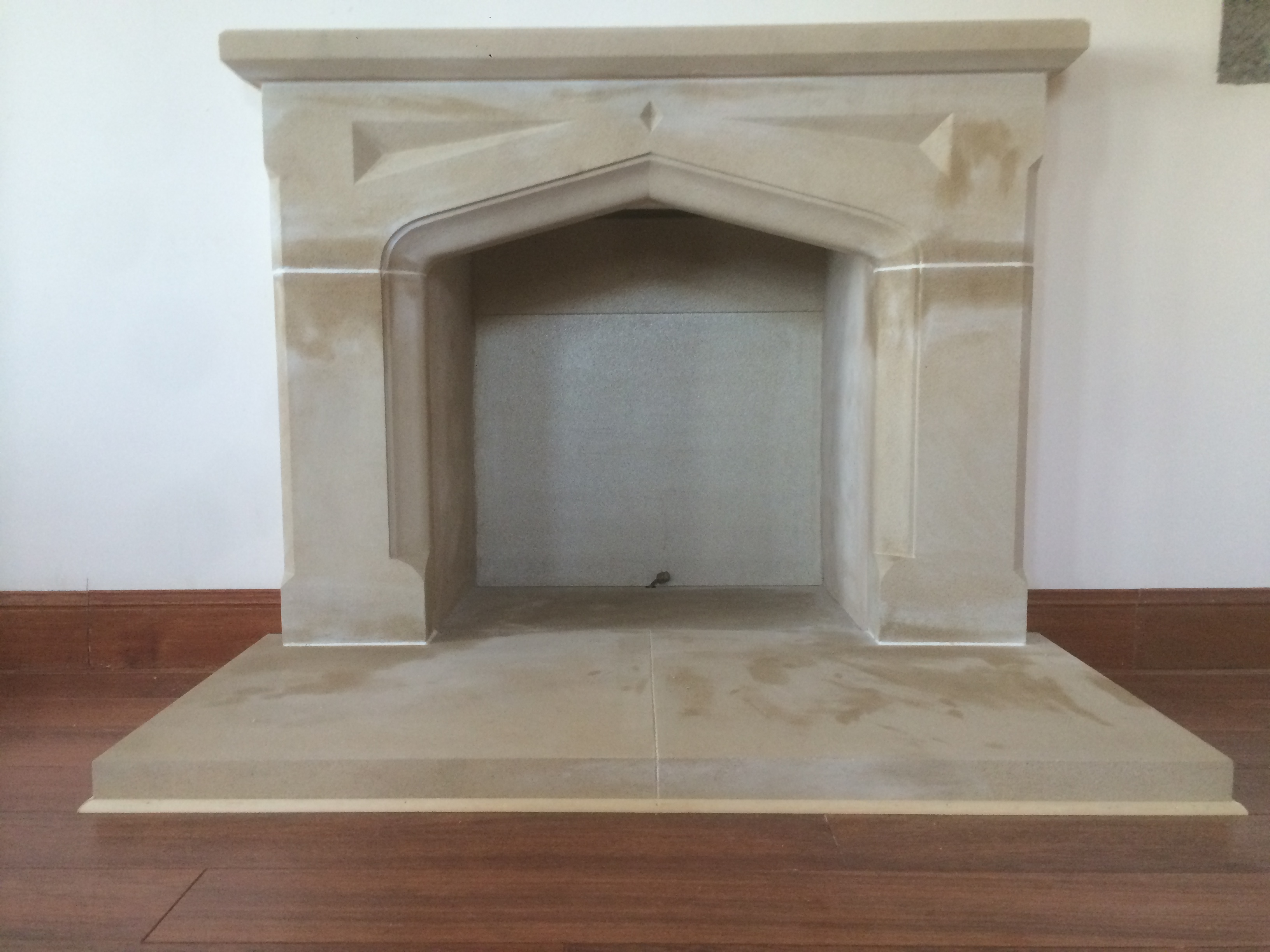 fireplace hearth banbridge p down fireplaces county heating arch in slate sandstone